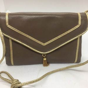 Lou Taylor Tan & Gold Leather Clutch, gold tassel.